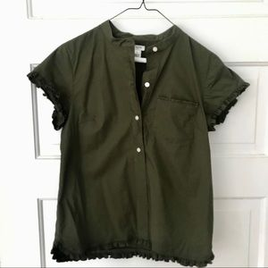 J.Crew Army Green Ruffle Sleeve Top